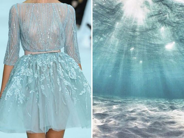 Oct, 5, 2015. Elie Saab S S 2012 & Tropical Beach. Love the color & the trim details, and how similar the garment looks to the picture.