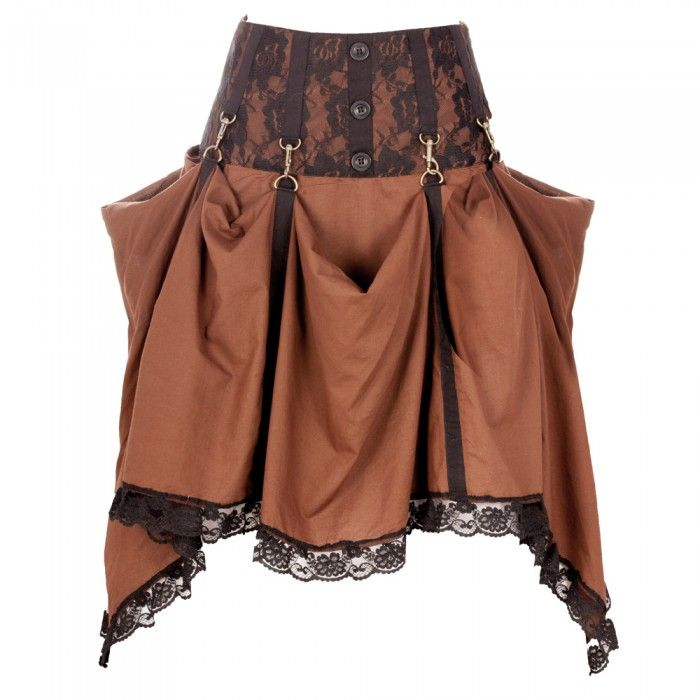 New Ladies Steampunk Adjustable Length Skirt Maxi Party Evening