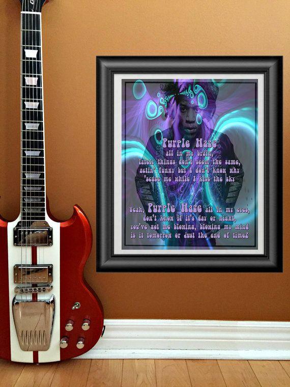 Purple Haze by Jimi Hendrix printable wall by PrintableSongParts