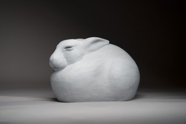 #Bronze #sculpture by #sculptor Anthony Smith titled: 'Arctic Hare (Sitting Close Fluffed sculpture statue)'. #AnthonySmith