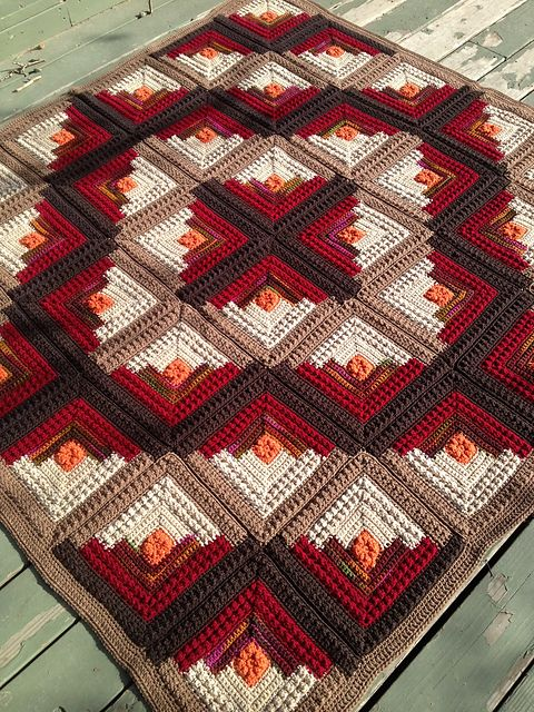 Gorgeous colors! - crochet afghan in log cabin quilt pattern