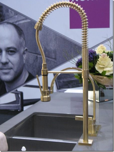 Brass restaurant-style faucet | Bloomsbury kitchens--click through link to see burnished brass range hood