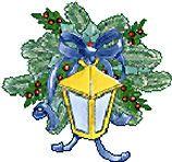 Lantaarn met blauwe strik