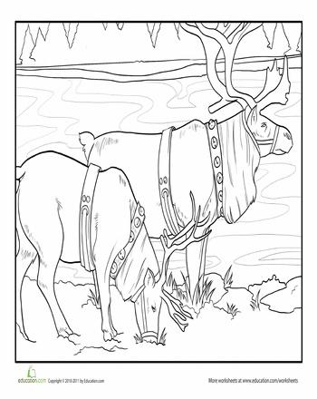 Worksheets: Reindeer Coloring Page