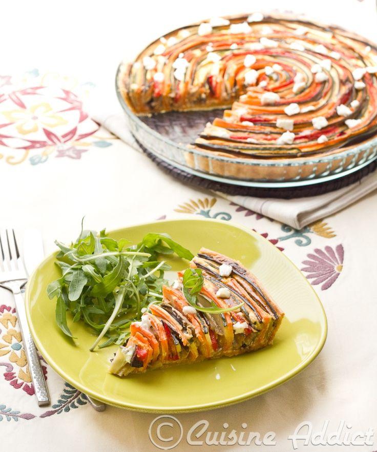 Tarte provencale en spirale : courgette, aubergine, poivron & carotte