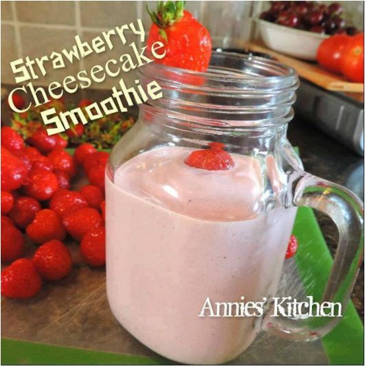   Strawberry Cheesecake Smoothie  It tastes like a DQ Strawberry Cheesequake blizzard!!!!! Only this one is good for you ! Ingredients... 10 ice cubes 1/2 cup fresh strawberries 1/4...