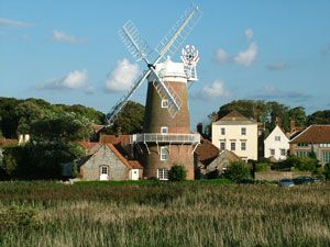 Cley windmill from the coastal footpath North Norfolk UK