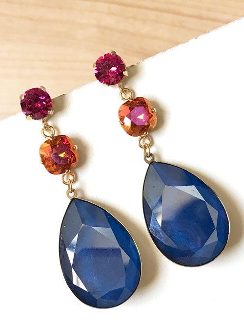 Pendientes triples de cristal Swarovski en tonos azul, naranja y