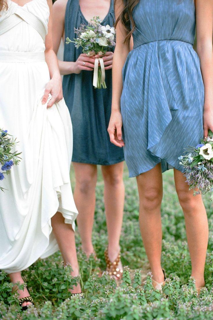 denim bridesmaid dresses >> Beautiful color scheme!