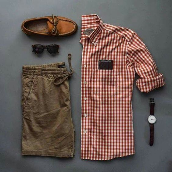 Camisa Xadrez Vermelha, Camisa Xadrez Vichy, Bermuda Marrom Masculina, Mocassim, Calça Marrom Masculina, dicas para usar e inspirar, Combo Moda Masculina, Moda Masculina, Grid, Men Style,