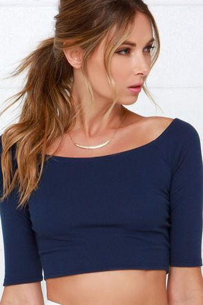 Space is the Place Navy Blue Crop Top at Lulus.com!