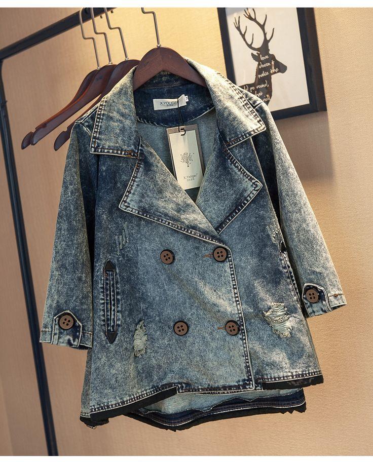 X Yoliger 2016 новая весна мода сделать старый стиральная носить белые джинсовая куртка три четверти рукав отверстие ковбой пальто женщин 361002купить в магазине SMO FashionнаAliExpress