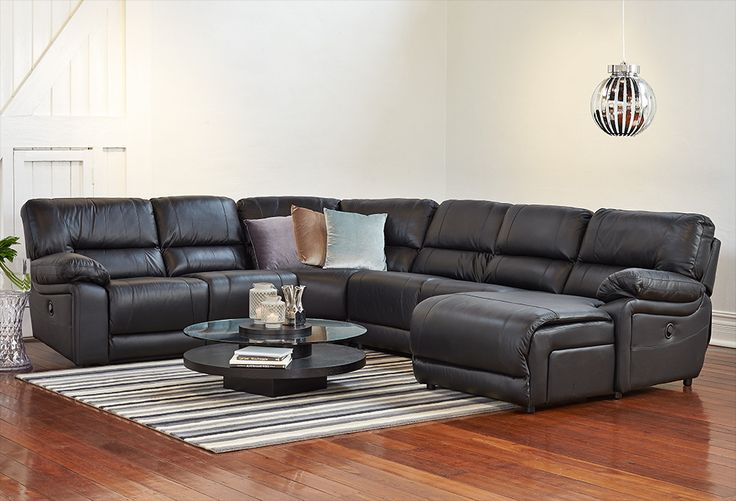 Create a snug and inviting living area with our quality lounges that are perfect for all spaces. Showcasing genuine leather and sturdy frames, the Lorie 5 Seater Modular + Chaise will be right at home in your living room.