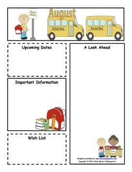 august monthly newsletter template customizable kindergarten