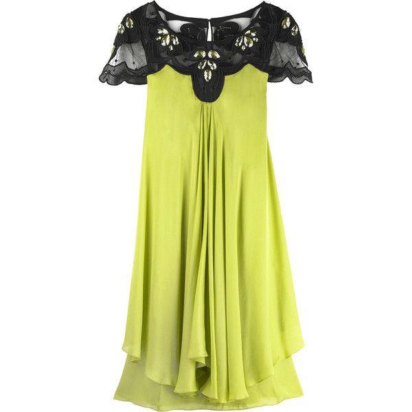 Temperley London Elfin tunic dress ($370) ❤ liked on Polyvore featuring dresses, vestidos, green, haljine, layered dress, cap sleeve cocktail dress, green cap sleeve dress, yellow cocktail dress and embroidery dress