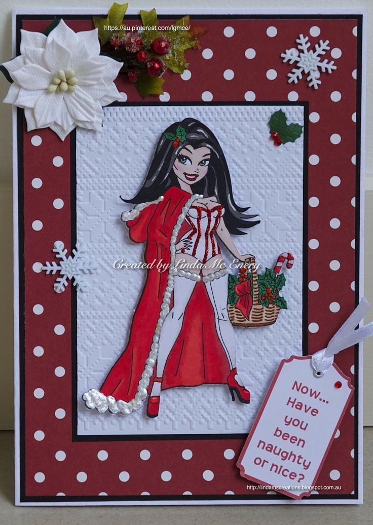 Christmas Card 2016: KennyK digistamp, called Xmas Greetings; paper from the Dovecraft Christmas Basics pack; Bo Bunny snowflakes; message tag created on the Cricut; Tim Holtz embossing folder
