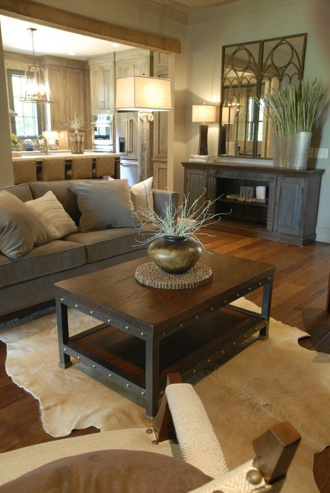 modern rustic design really like the piece of furniture against the wall. Use for TV console