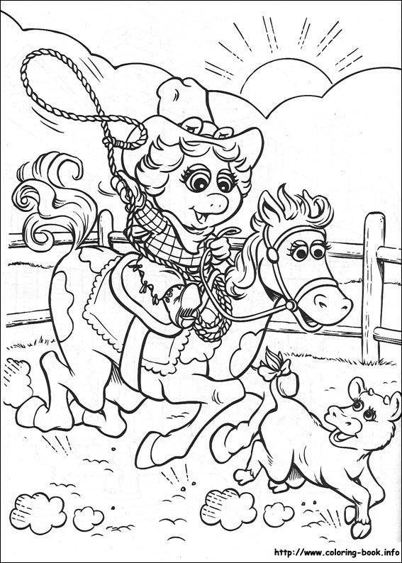 muppet babies miss piggy oakely coloring picture