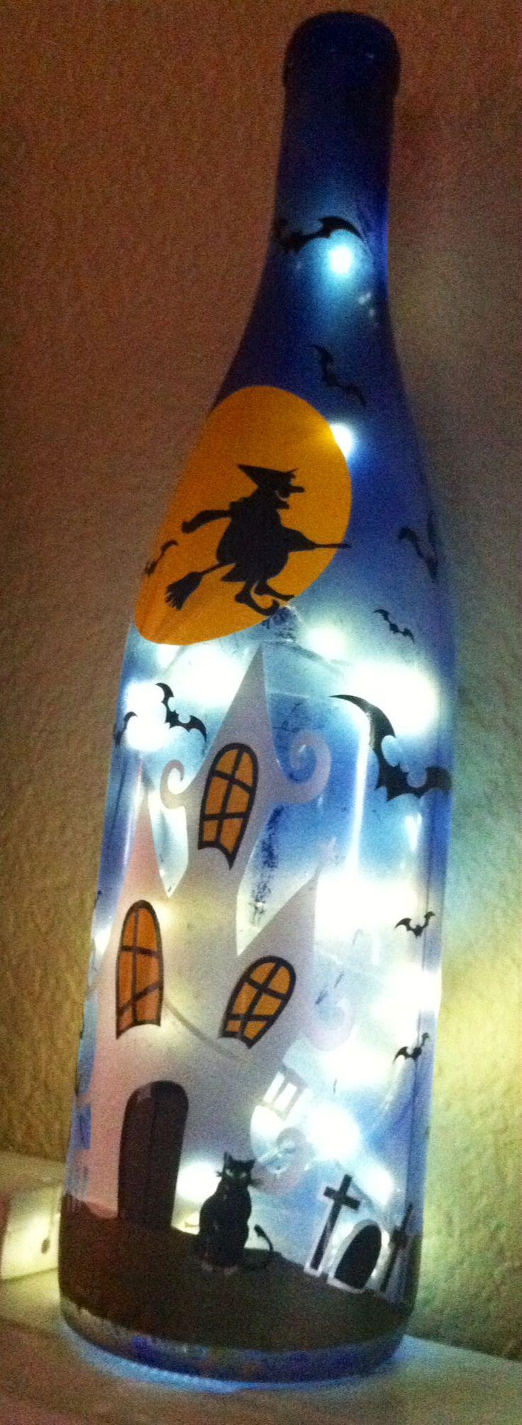 Wine bottle Halloween scene side 2
