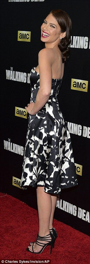 Lively outfit: Lauren Cohan, who plays Maggie Greene in the critically acclaimed show, showed up to the season six premiere of Walking Dead in a glamorous strapless fitted sheath-style dress