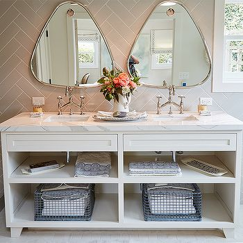 Add Interest With Triangular Shaped Vanity Mirrors. L Coastal Bathrooms L  Www.DreamBuildersOBX.