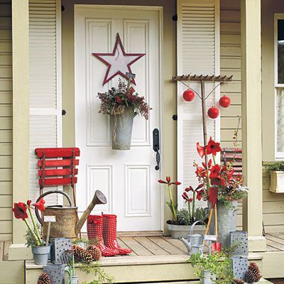 101 Fresh Christmas Decorating Ideas. Bring cheer to your house this holiday season with these easy decorating ideas. Greet with a Garden Theme    Convey a cozy welcome with a garden-inspired holiday decorating theme. Rustic aluminum containers on the door, porch, and stairs offer casual Christmas appeal when filled with herbs and bright accents, such as red amaryllis blooms and berries.