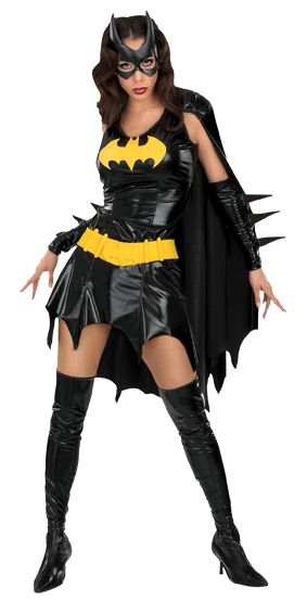 Sultry Batgirl Ladies Costume - Calgary, Alberta. Head out for a night on the town in this fun Batgirl costume. Perfect for comic con, themed parties, Halloween or whenever you feel the need to save Gotham! Bring out your inner Batgirl in this fantastic superhero costume. This 4 piece Batgirl ensemble is made primarily from a shiny polyester. The dress has attached cape has a batwing style cut on the bottom of both the dress and the cape.