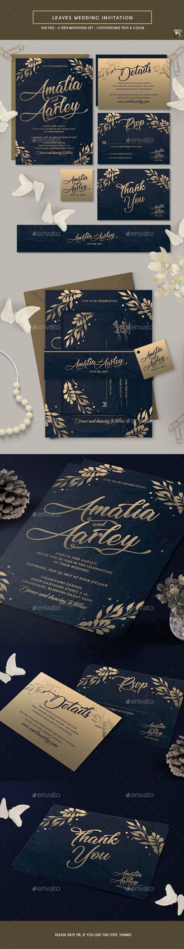 free wedding invitation psd%0A Leaves Wedding Invitation Template PSD
