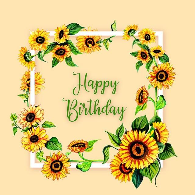 Watercolor Floral Happy Birthday Frame Background Watercolor Color Floral Png And Vector With Transparent Background For Free Download Happy Birthday Frame Birthday Frames Happy Birthday