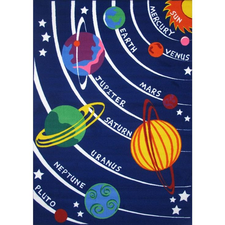 Fun Time Solar System Multi Colored 5 ft. 3 in. x 7 ft. 6 in. Area Rug