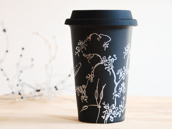 Hand painted ceramic eco friendly mug doing this once i for Craft smart paint pen on mugs