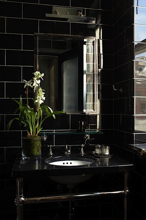 Chic black Ceramic Subway tile bathroom. Have always thought that black tile would be timeless edgy and boho chic wrapped up in one.