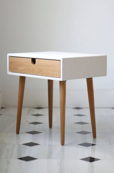 White nightstand / Bedside Table,  Scandinavian Mid-Century Modern Retro Style