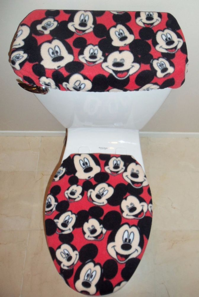 Disney Mickey Mouse Red Fleece Fabric Toilet Seat Cover Set Bathroom Accessories #Unbranded