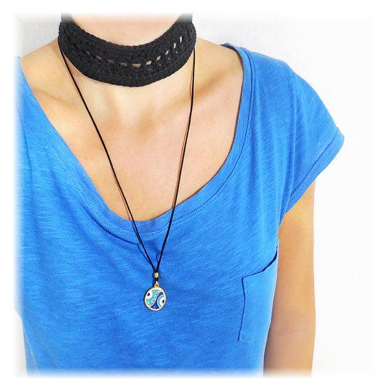 greek jewelry evil eye necklace crochet cotton by christelboutique