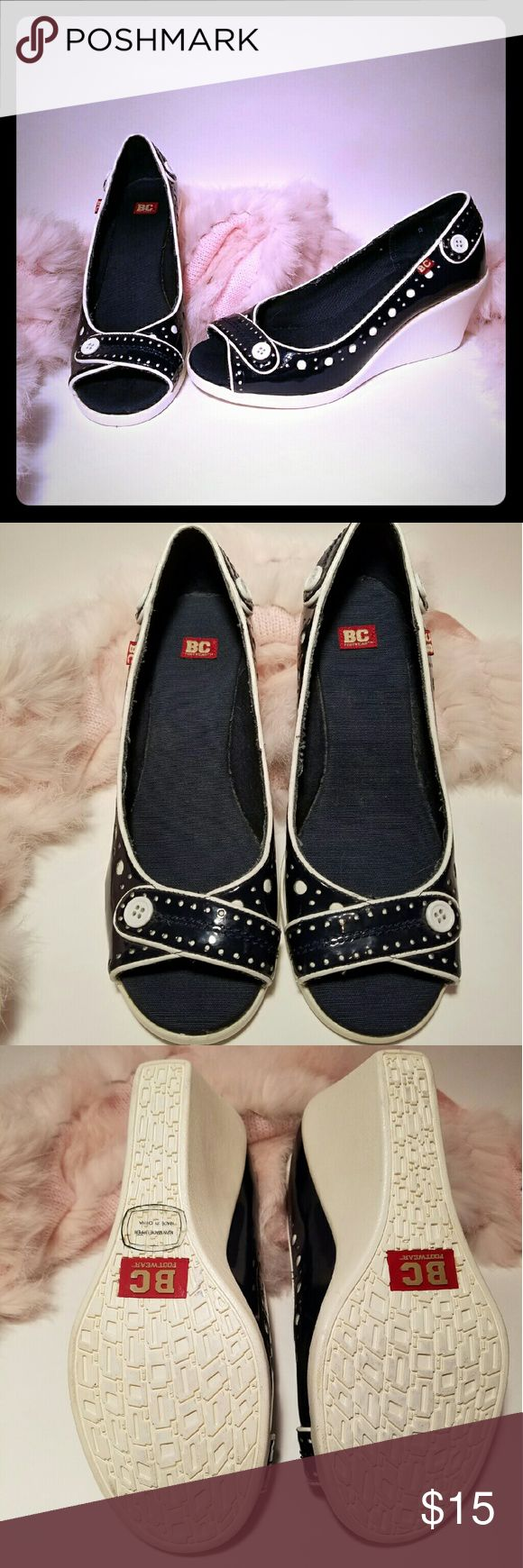 BC Footwear - Navy & White Wedge Shoes Adorable Navy & White wedges from BC Footwear!  Like new with very minor discolorations on the soles. Looks great with a sun dress or skinny jeans! BC Footwear Shoes Wedges