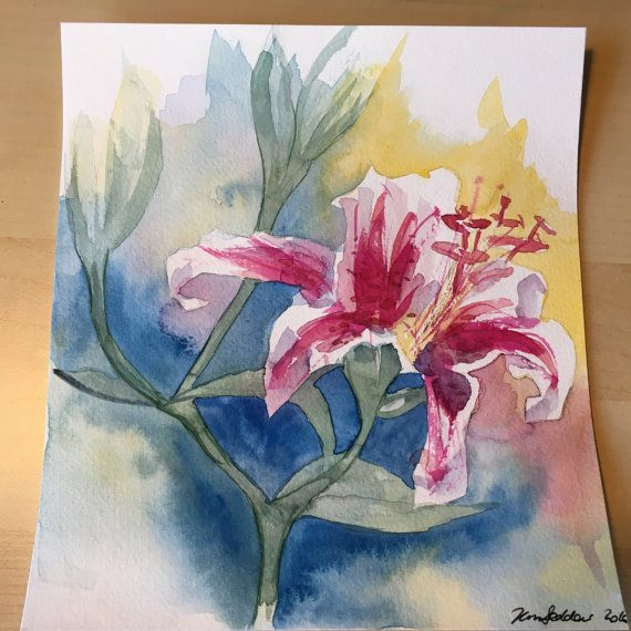 Lily Original Watercolour signed and dated 2016 by KnottyThistle