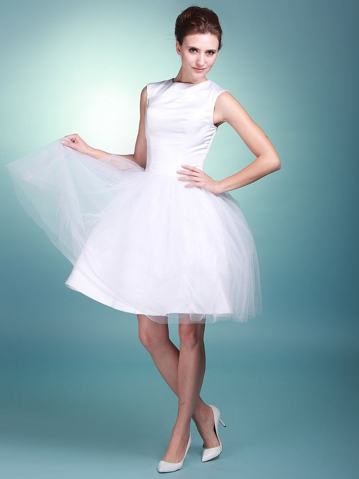 Boat Neck Satin and Tulle Little White Gown