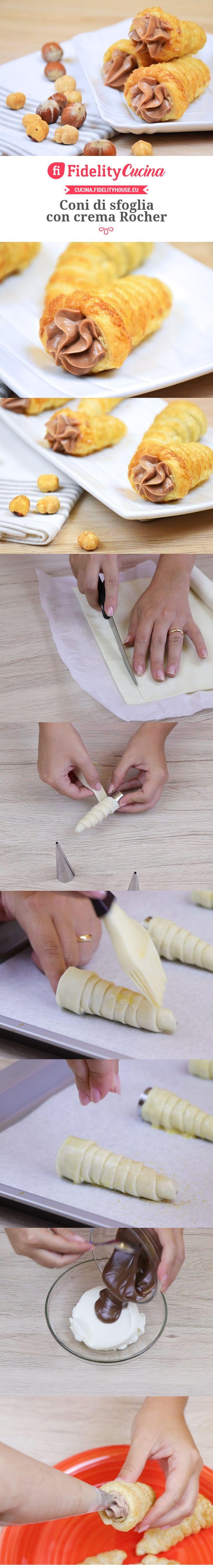 Coni di sfoglia con crema Rocher