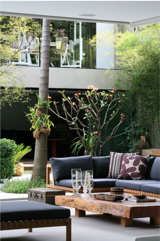 Outdoor living - could make these.  Match existing line & use their cushions (or make).