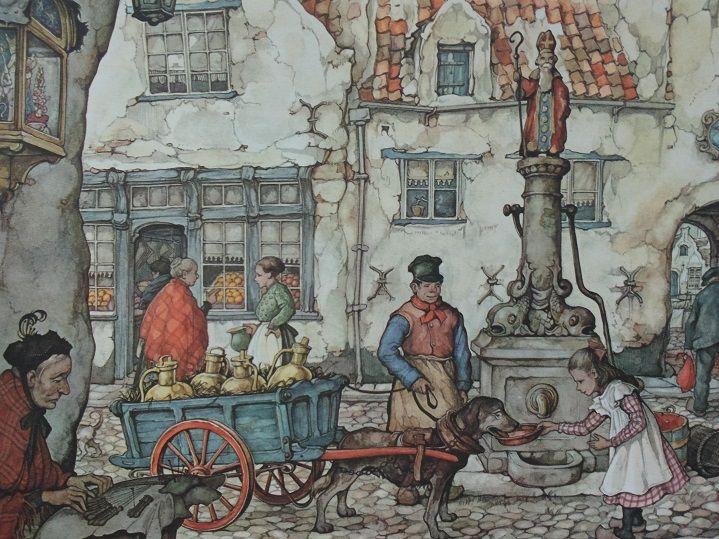 Dorps tafereel, met een St. Nicolaas beeld op de waterpomp