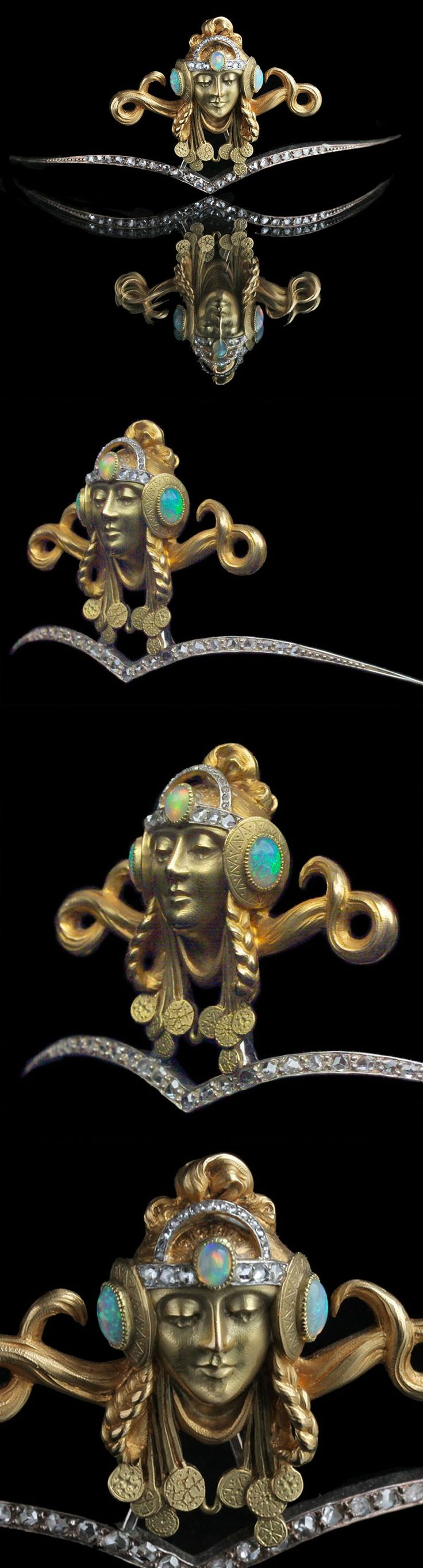 ART NOUVEAU DIADEM Mucha style Byzantine Princess Gold Opal Diamond H: 4.2 cm (1.65 in) W: 10.6 cm (4.17 in) Marks: Crab mark French, c.1900 Fitted Case The diadem can also be worn as a pendant by unscrewing the reverse, The diadem is unmarked, but undoubtedly French and possibly by Georges Fouquet or Maison Vever. http://www.tademagallery.com/content.htm | JV