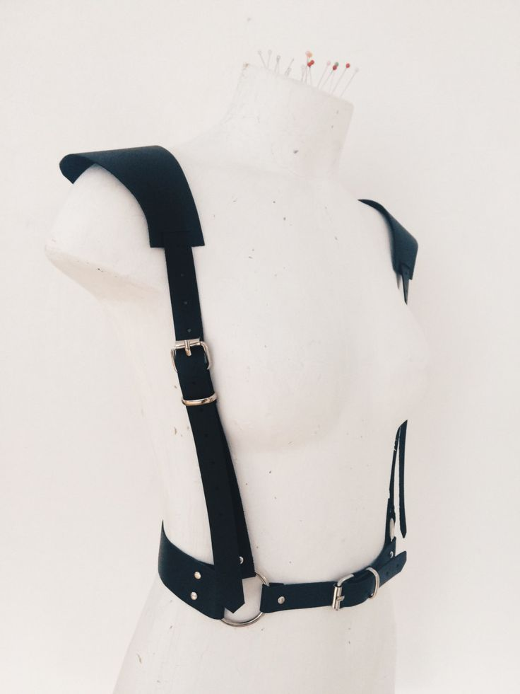 Women's leather belt, leather women black harness with removable shoulder designer Isy Mo by IsyMo on Etsy