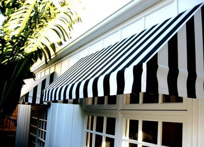 stripped awning over the door