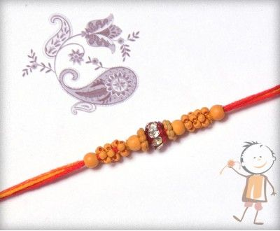 buy online rakhi - #Designer #Sandalwood #Diamond #Rakhi, Small Sandalwood Beads with American Diamond Rakhi, surprise your loved ones with roli chawal, chocolates and a greeting card as it  is also a part of our package and that too without any extra charges. http://www.bablarakhi.com/
