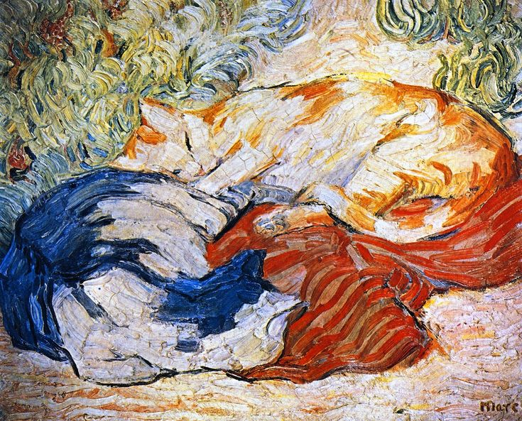 franz marc(1880-1916), cats, 1909-10. oil on canvas, 50.48 x 60.64 cm. private collection http://www.the-athenaeum.org/art/detail.php?ID=21389