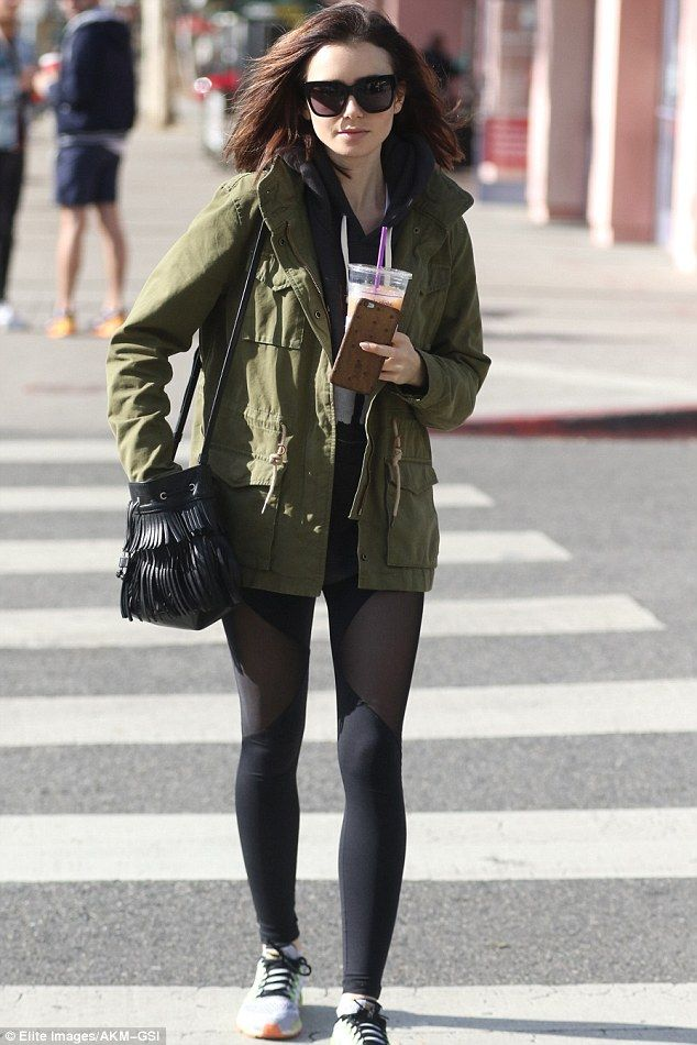 Always active! Lily Collins started her day off with a workout on Monday as she left her g...