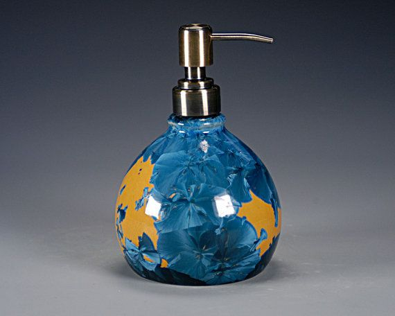 Porcelain Lotion Bottle / Soap Dispenser - Blue, Orange - Crystalline Glaze - Hand Made Ceramics - FREE SHIPPING - #LC-582