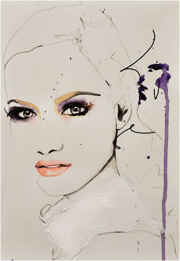 """""""Savage Beauty"""" by   Leigh Viner Leigh Viner self taught Illustrator from Colorado. Influenced by fashion, photography and make up. Uses various mediums some  including pencil, pen, watercolours and oil."""