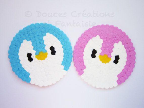 2 Dessous de verre Pingouin bleu rose, kawaii, mignon, geek, perle Hama, fait-main, accessoire cuisine table